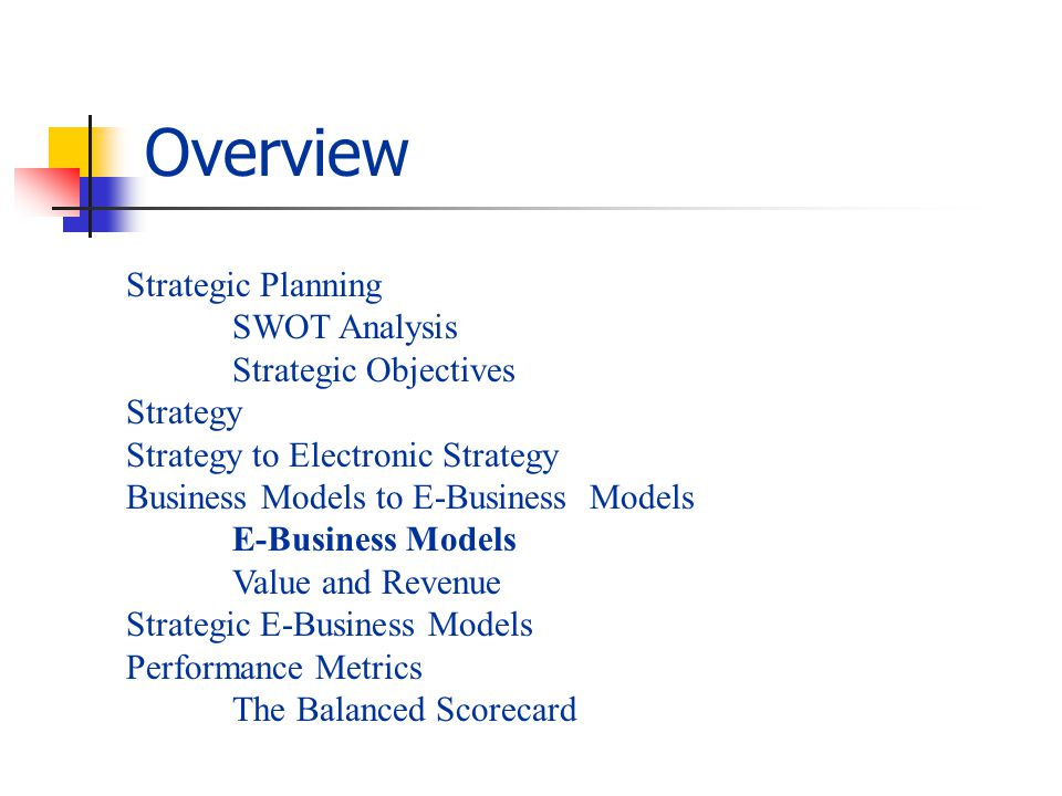 Overview Strategic Planning SWOT Analysis Strategic Objectives