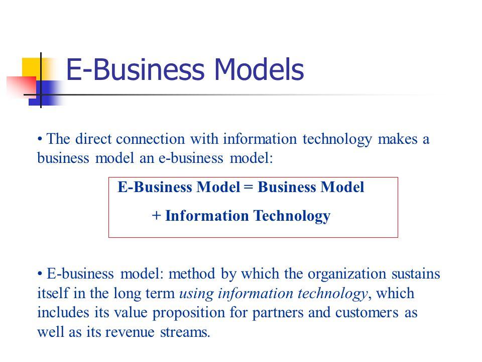 E-Business Model = Business Model + Information Technology