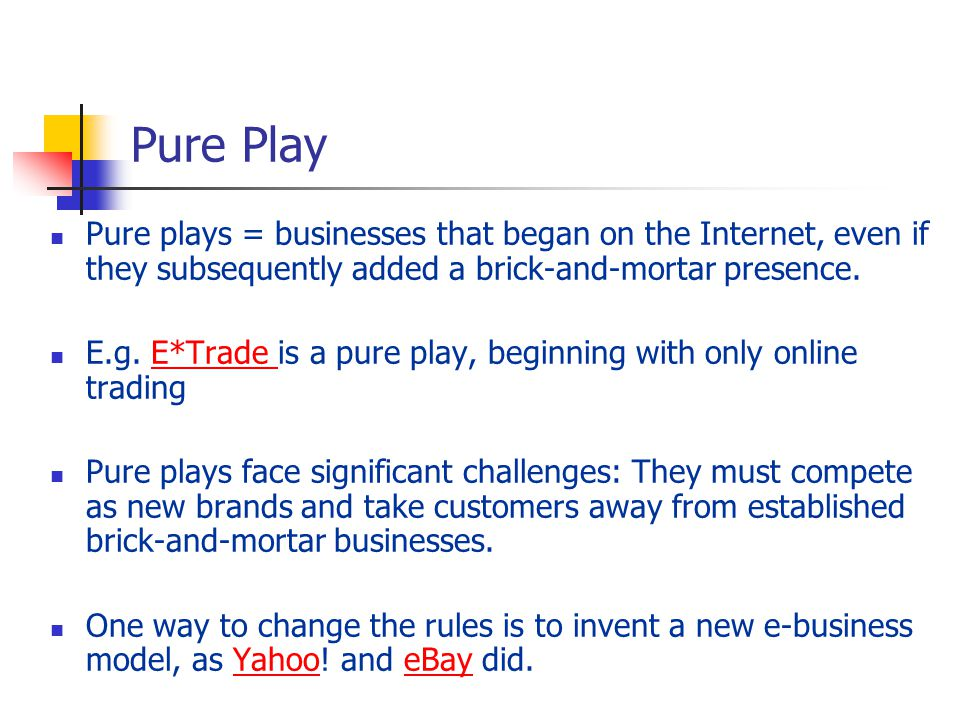 Pure Play Pure plays = businesses that began on the Internet, even if they subsequently added a brick-and-mortar presence.