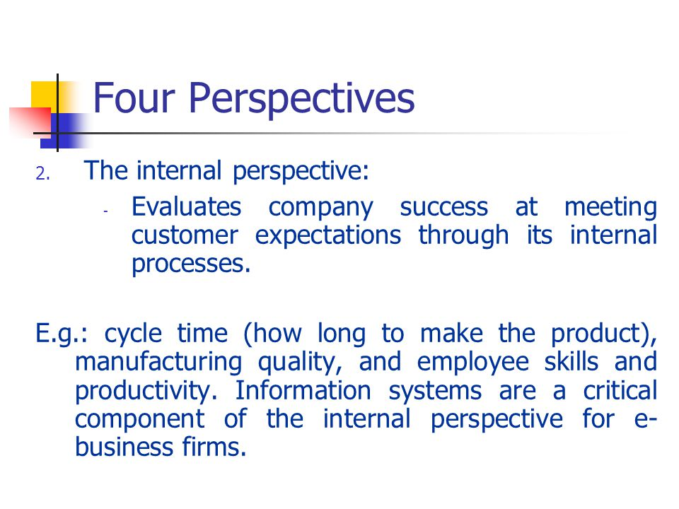 Four Perspectives The internal perspective: