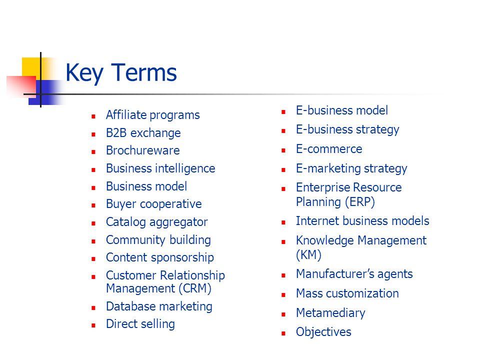 Key Terms E-business model Affiliate programs E-business strategy