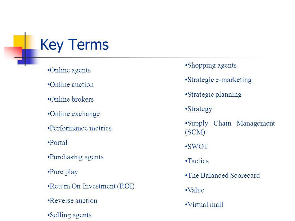 Key Terms Shopping agents Strategic e-marketing Strategic planning