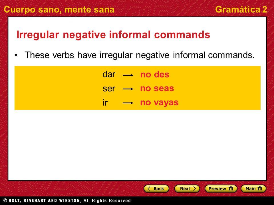Irregular negative informal commands