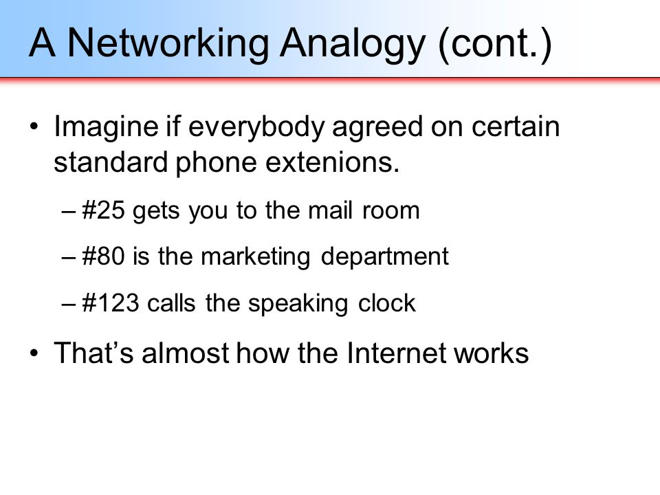 A Networking Analogy (cont.)