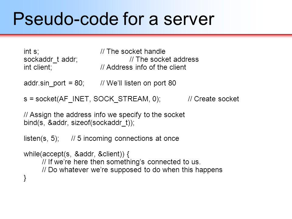 Pseudo-code for a server