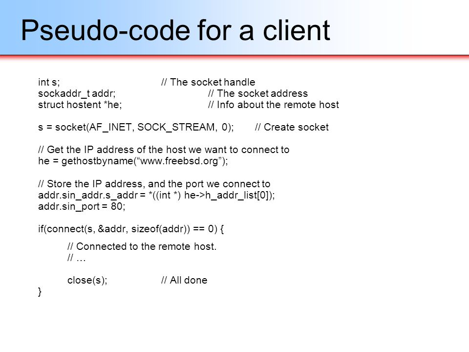 Pseudo-code for a client