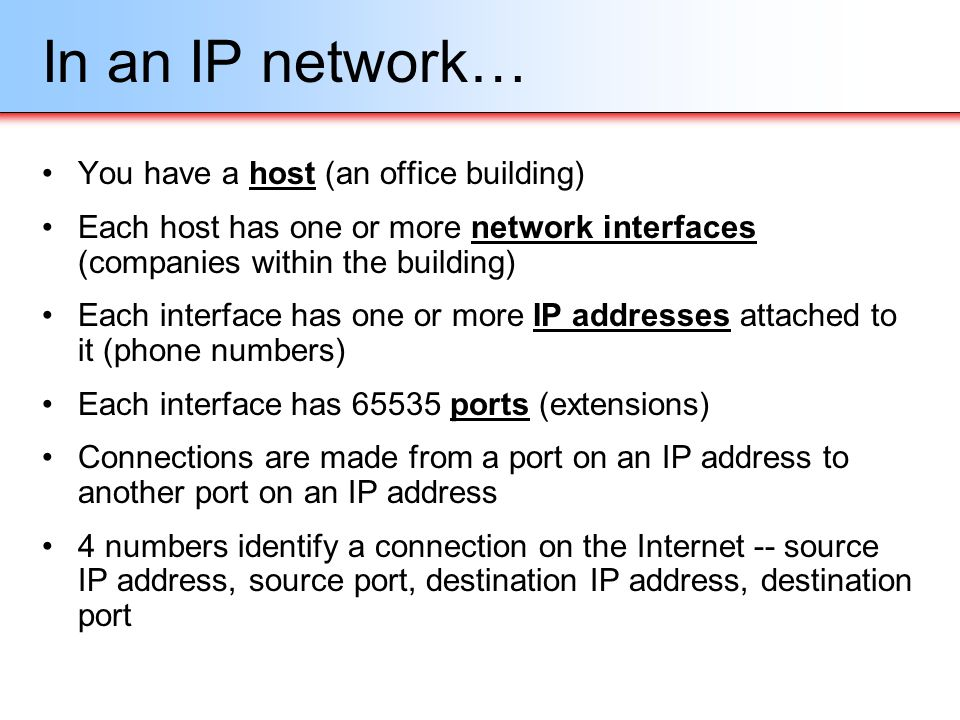 In an IP network… You have a host (an office building)
