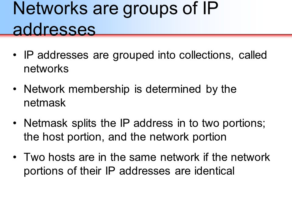 Networks are groups of IP addresses