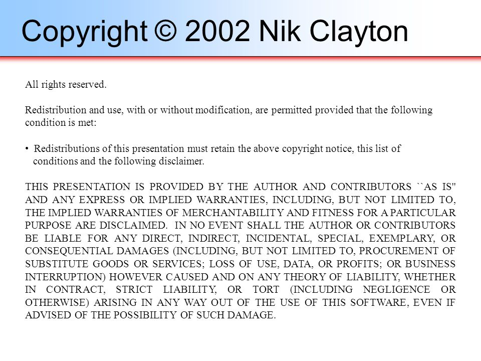 Copyright © 2002 Nik Clayton
