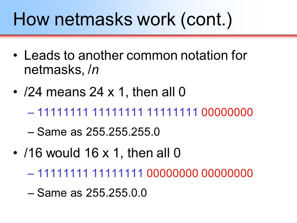 How netmasks work (cont.)