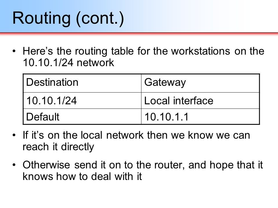 Routing (cont.) Here's the routing table for the workstations on the 10.10.1/24 network.