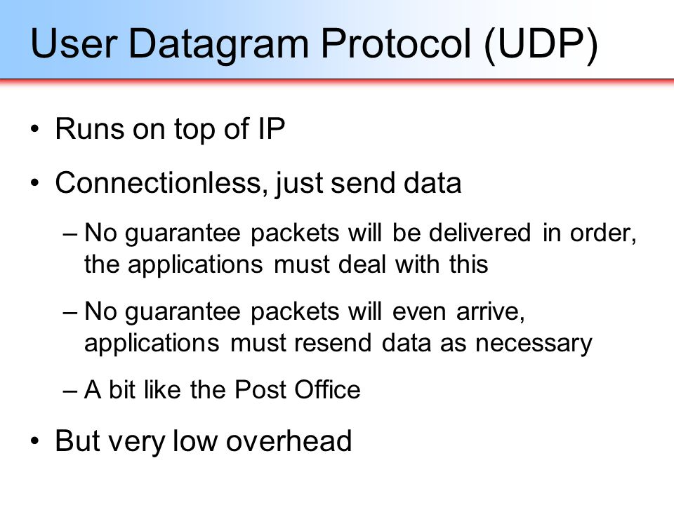 User Datagram Protocol (UDP)