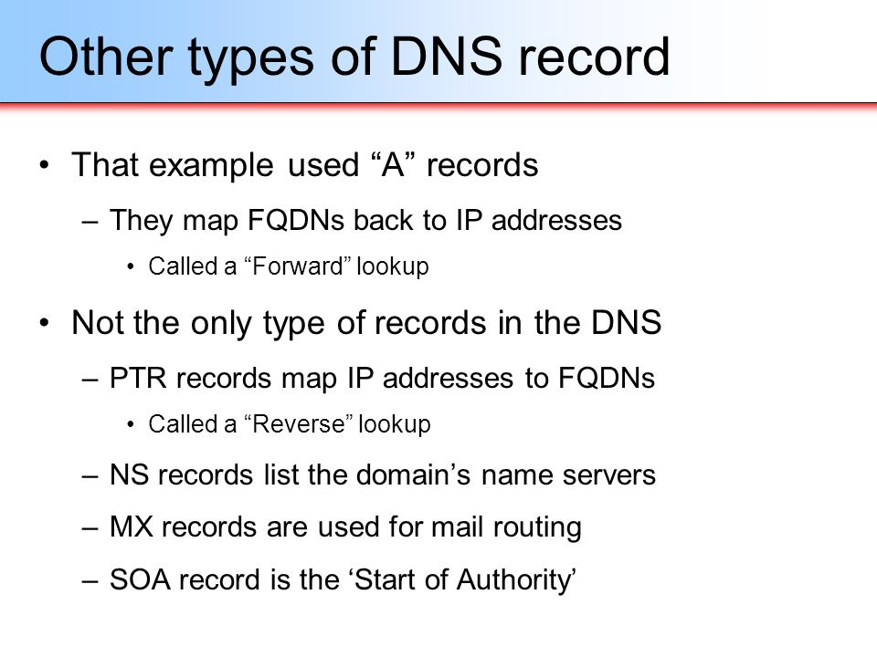 Other types of DNS record