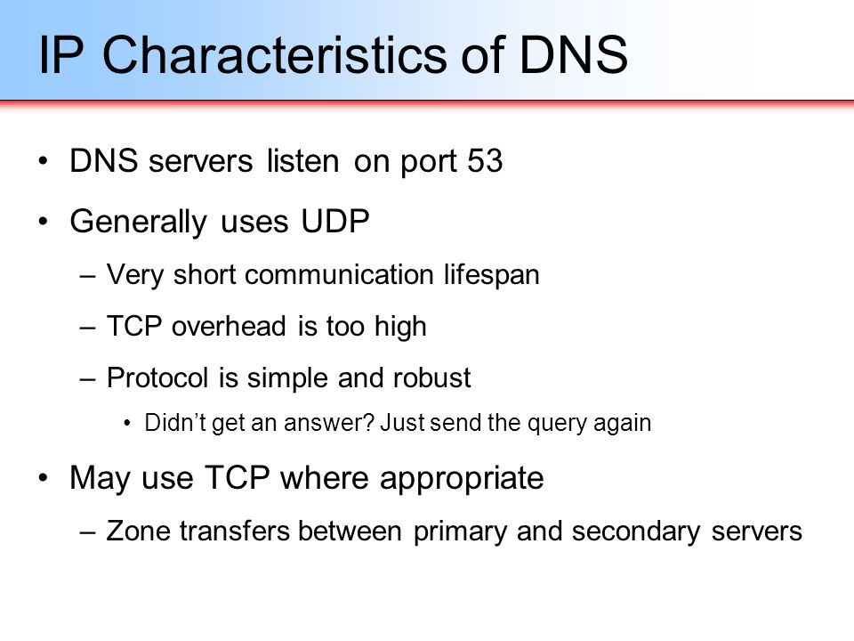 IP Characteristics of DNS