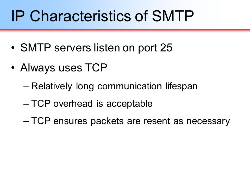 IP Characteristics of SMTP