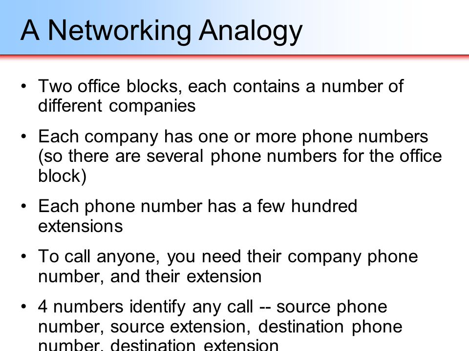 A Networking Analogy Two office blocks, each contains a number of different companies.