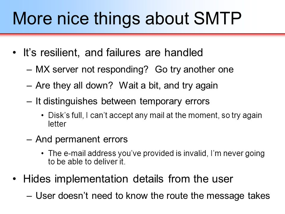 More nice things about SMTP