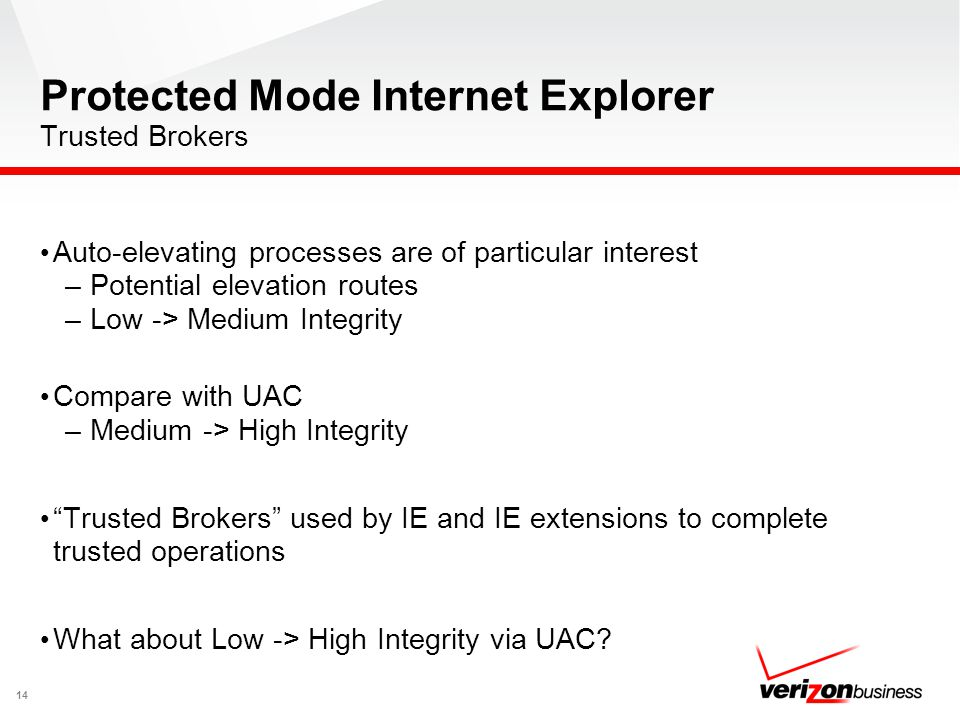 Protected Mode Internet Explorer Trusted Brokers