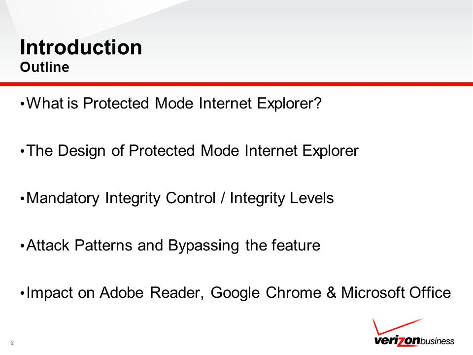 Introduction Outline What is Protected Mode Internet Explorer