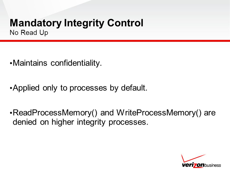 Mandatory Integrity Control No Read Up