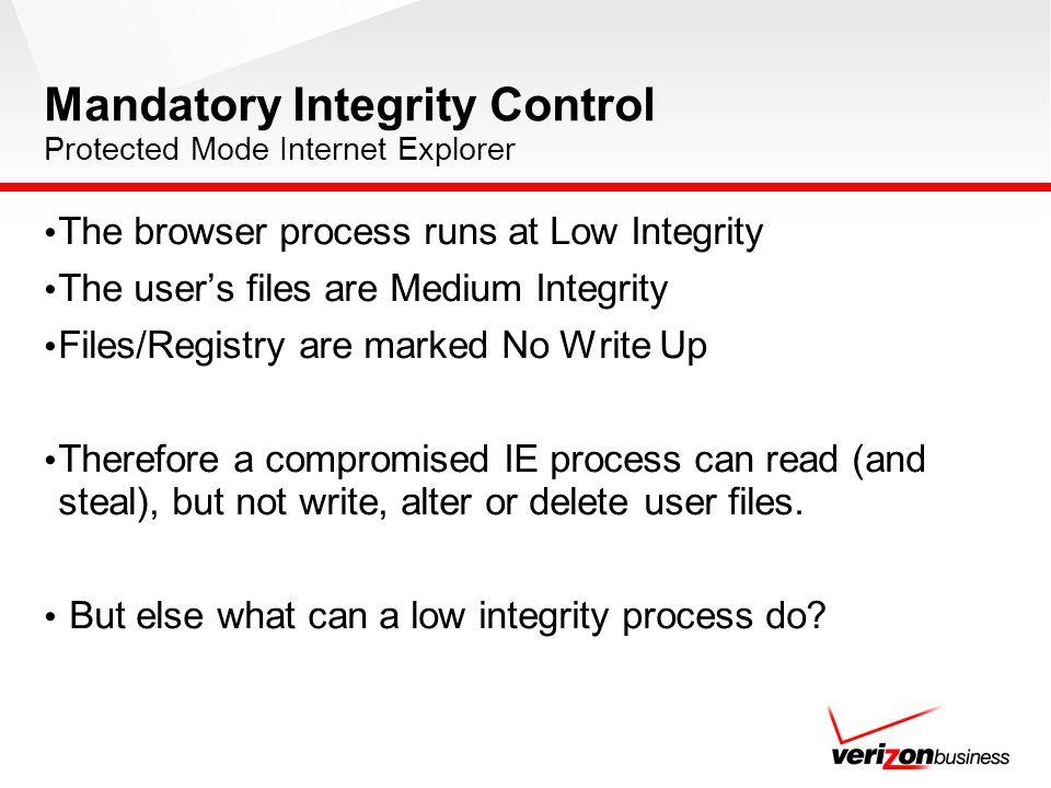Mandatory Integrity Control Protected Mode Internet Explorer