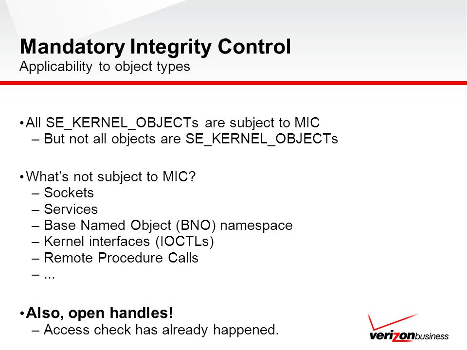 Mandatory Integrity Control Applicability to object types