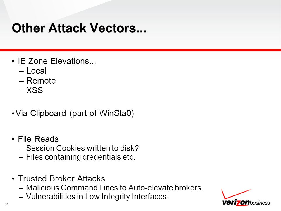 Other Attack Vectors... IE Zone Elevations... Local Remote XSS