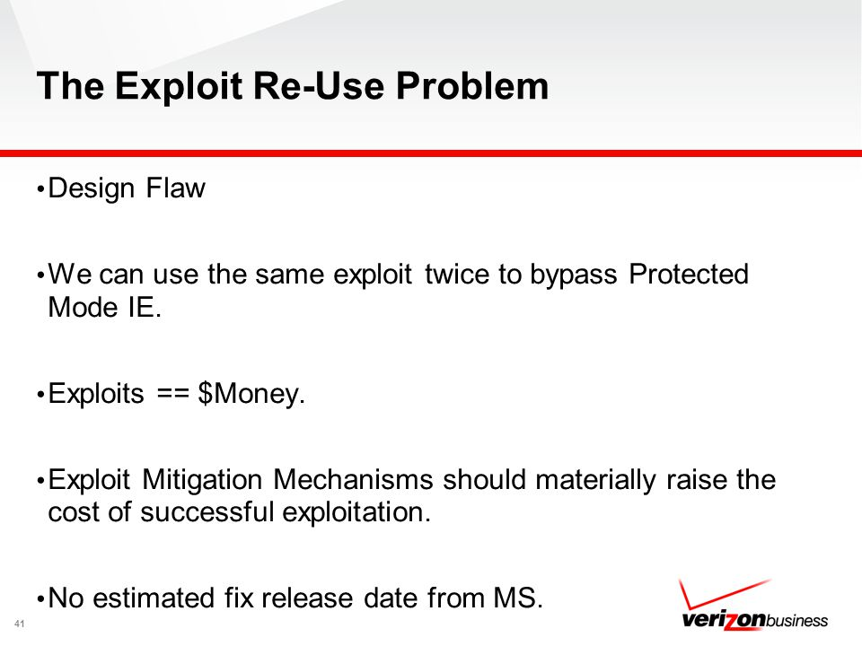 The Exploit Re-Use Problem