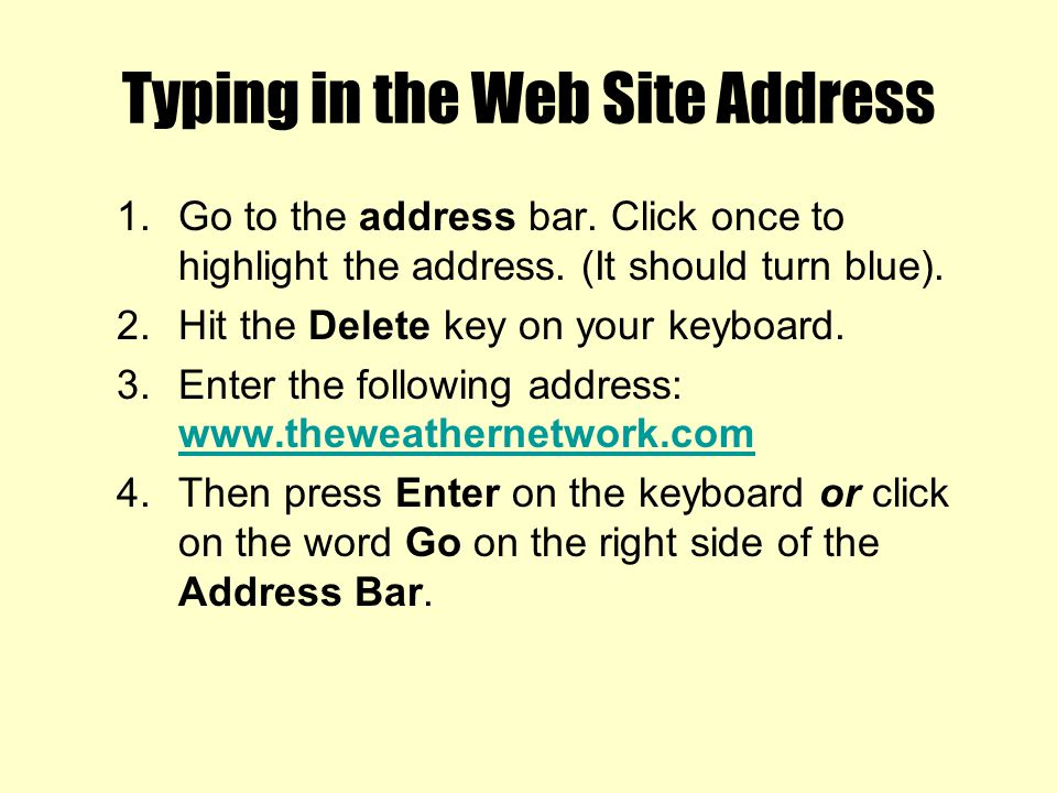 Typing in the Web Site Address
