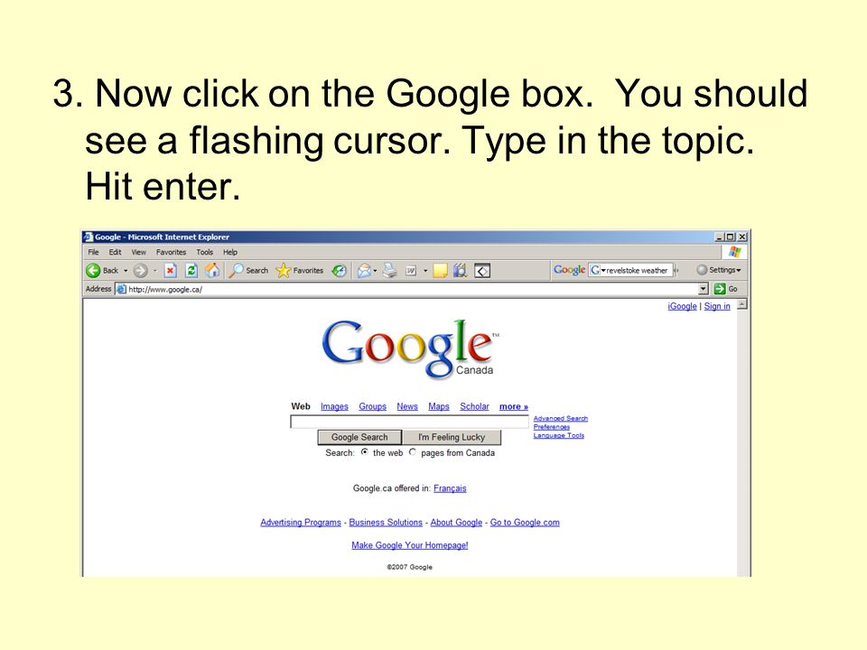 3. Now click on the Google box. You should see a flashing cursor