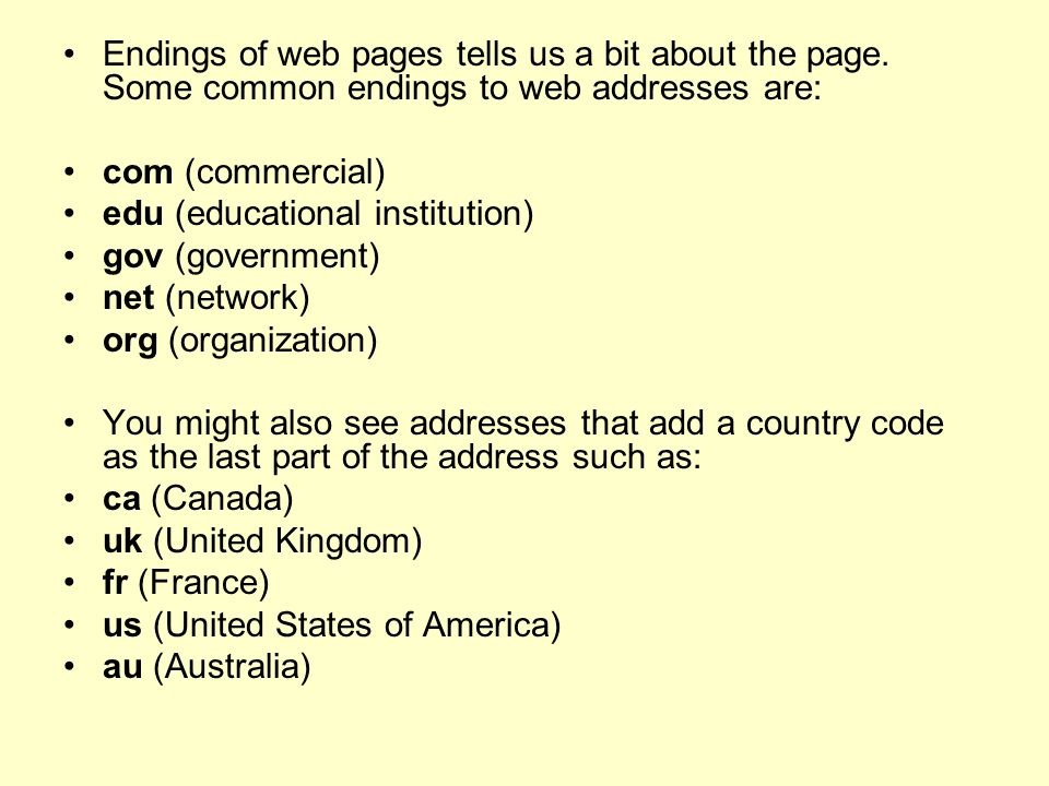 Endings of web pages tells us a bit about the page
