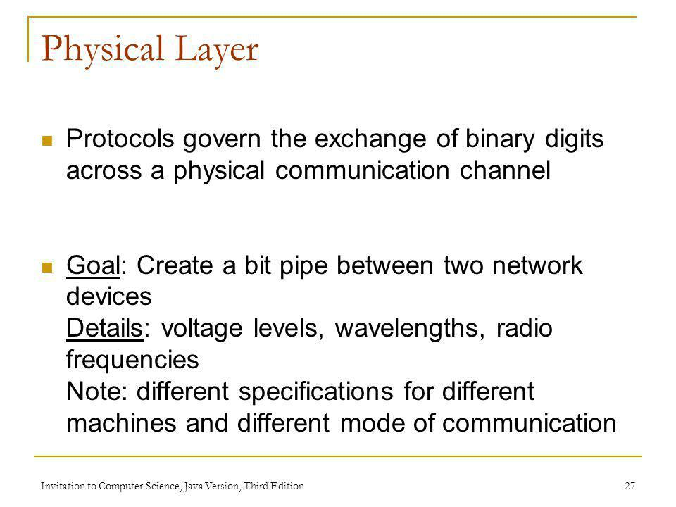 Physical Layer Protocols govern the exchange of binary digits across a physical communication channel.
