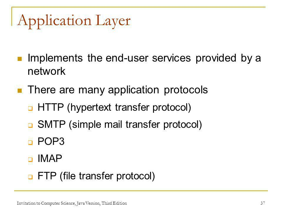 Application Layer Implements the end-user services provided by a network. There are many application protocols.