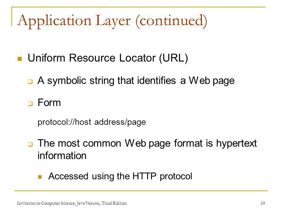 Application Layer (continued)
