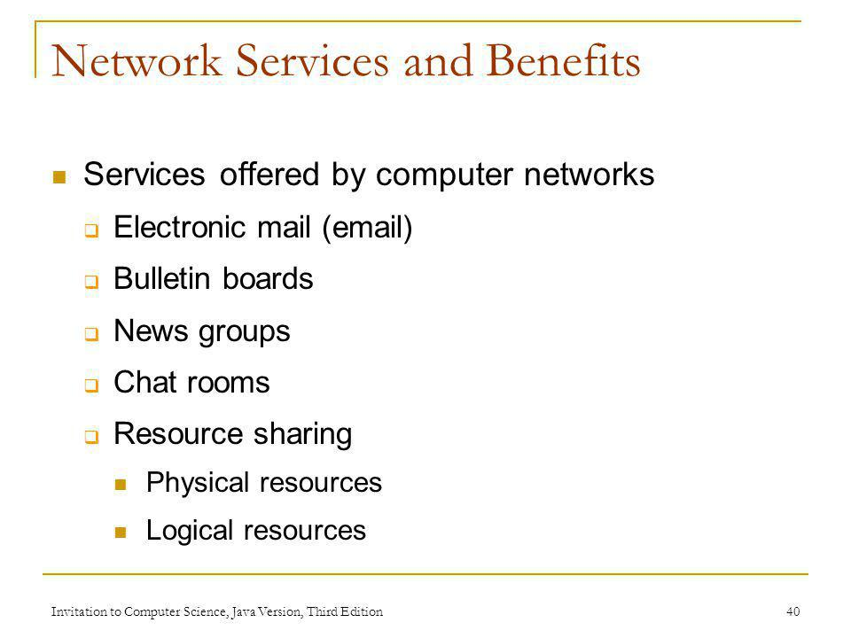 Network Services and Benefits