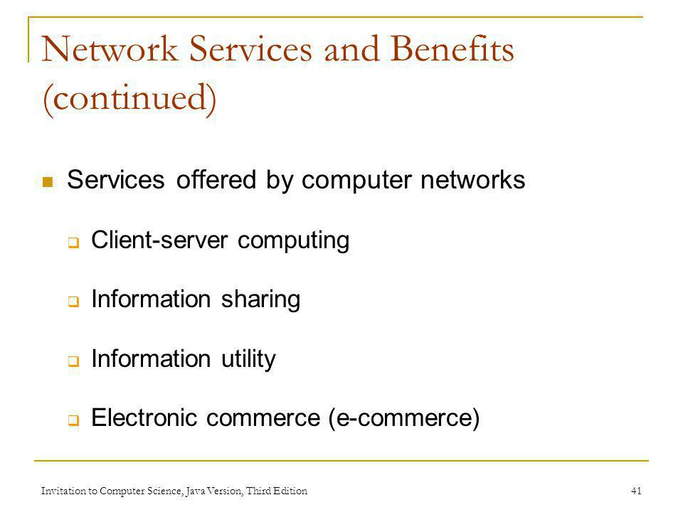 Network Services and Benefits (continued)