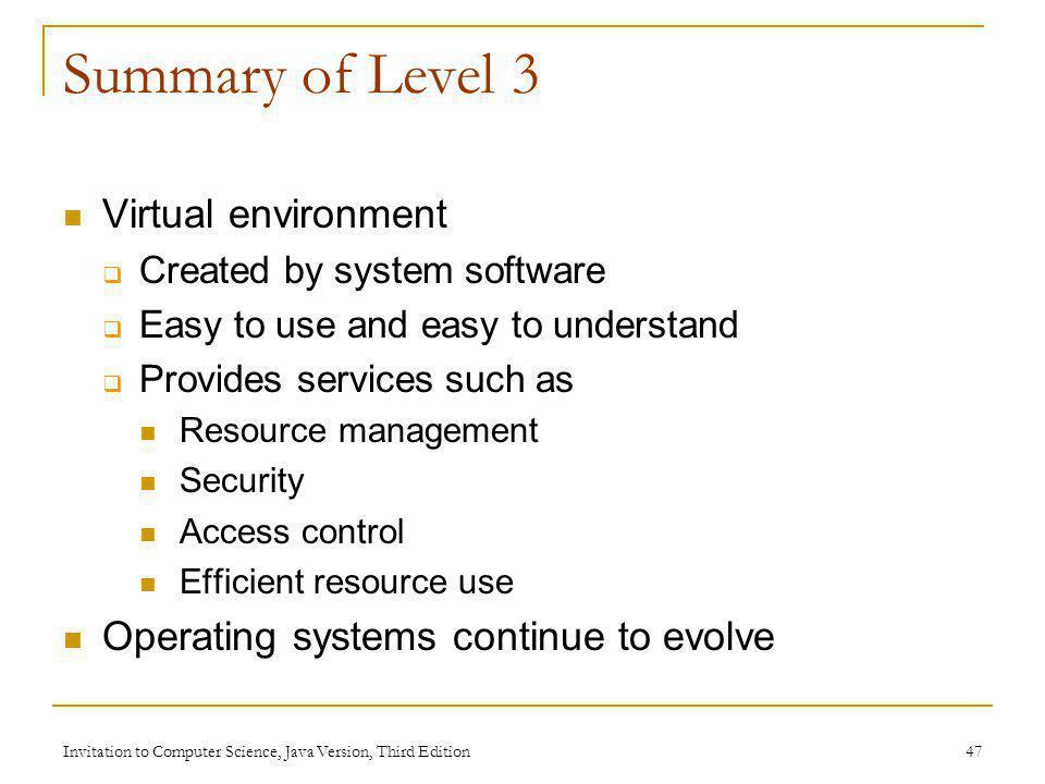 Summary of Level 3 Virtual environment