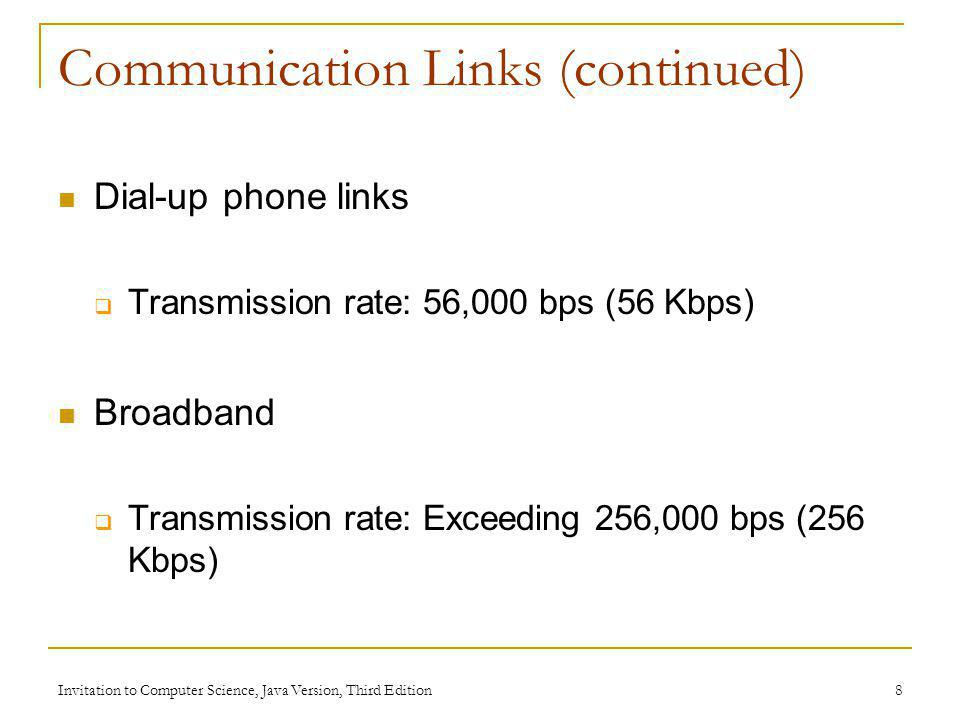 Communication Links (continued)