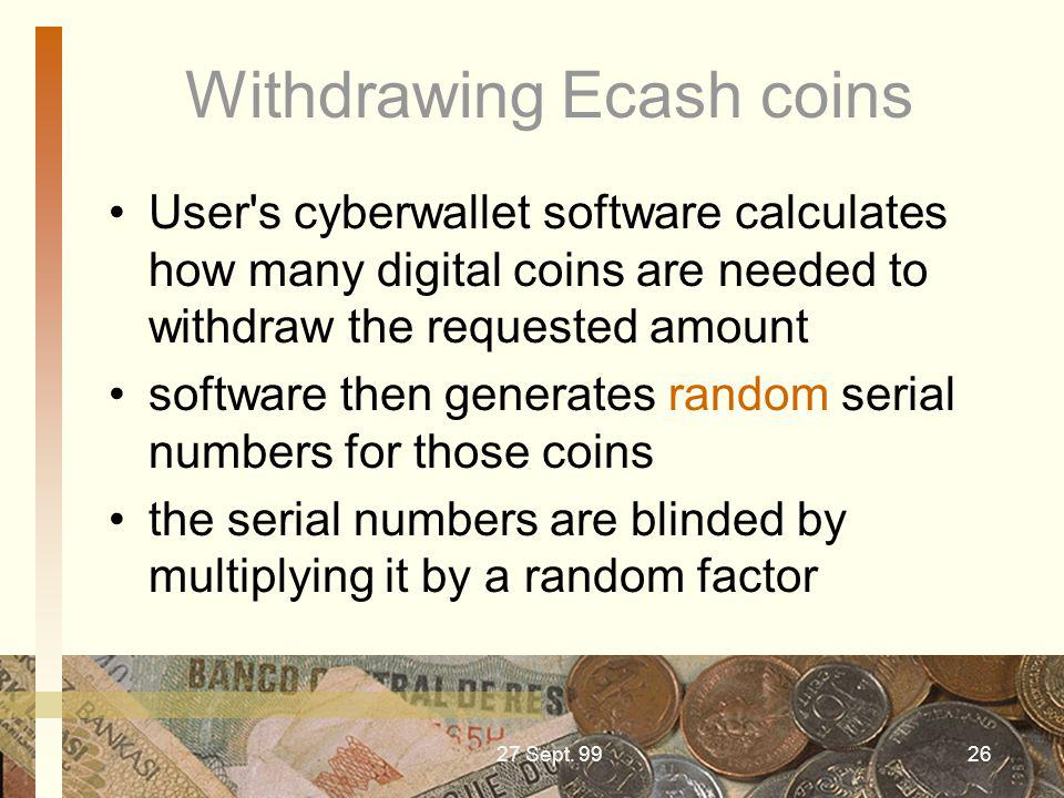 Withdrawing Ecash coins