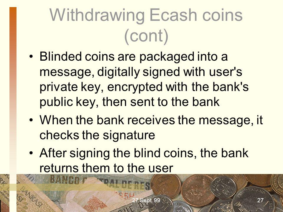 Withdrawing Ecash coins (cont)