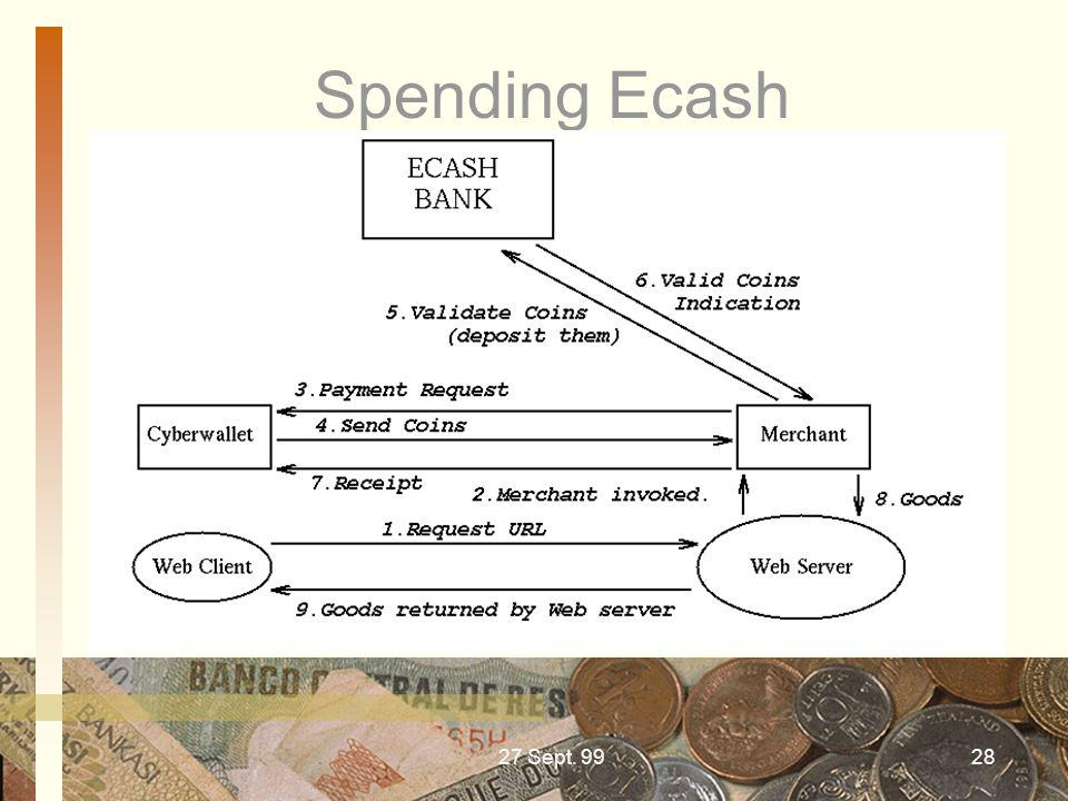 Spending Ecash 27 Sept. 99