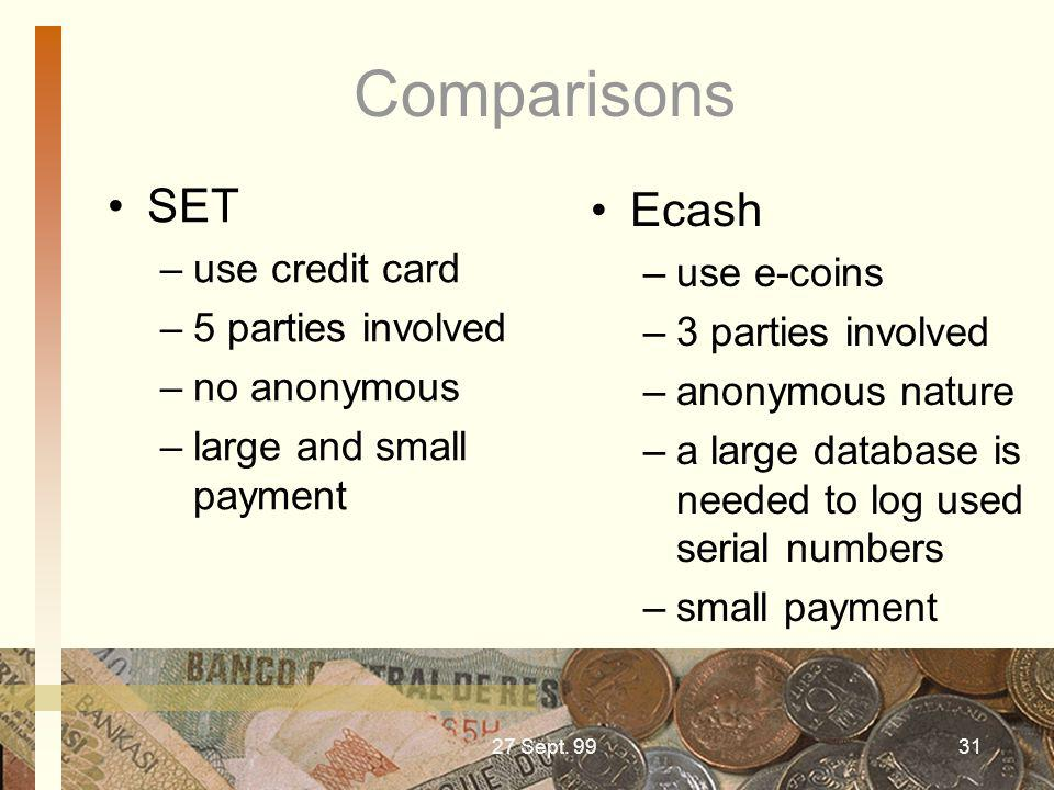 Comparisons SET Ecash use credit card use e-coins 5 parties involved