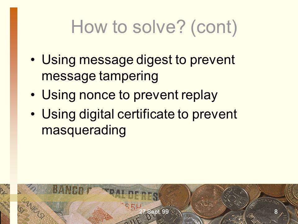 How to solve (cont) Using message digest to prevent message tampering