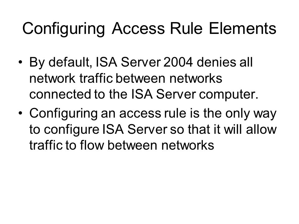 Configuring Access Rule Elements