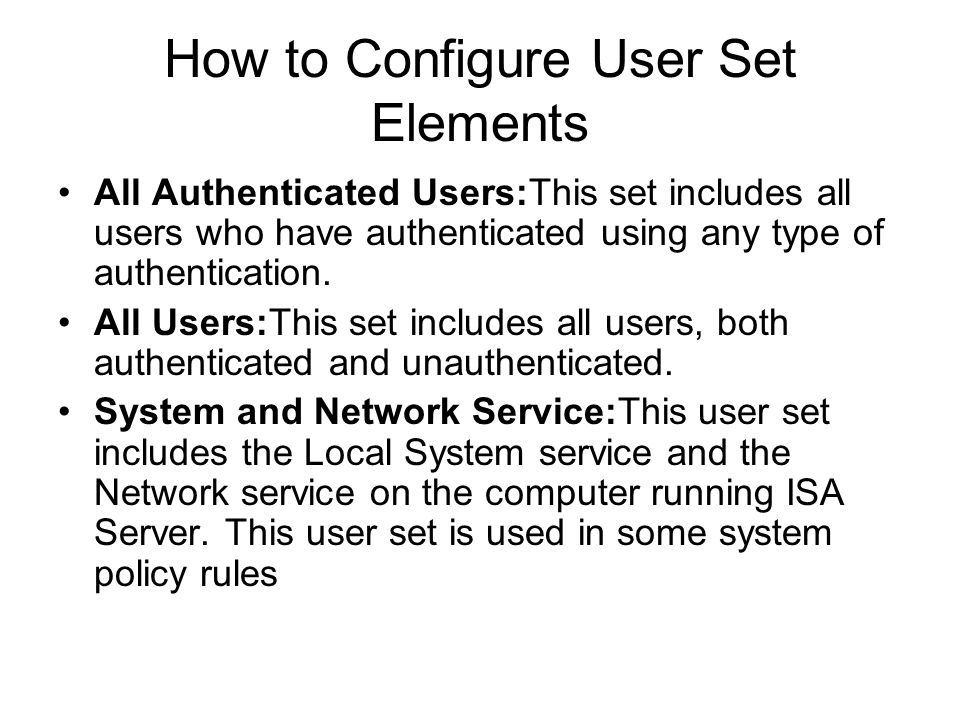 How to Configure User Set Elements