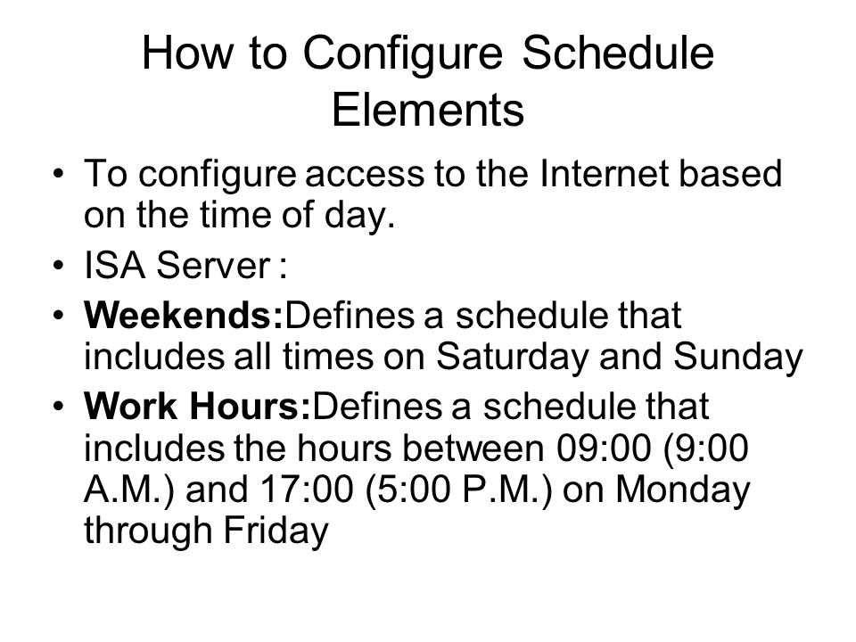 How to Configure Schedule Elements