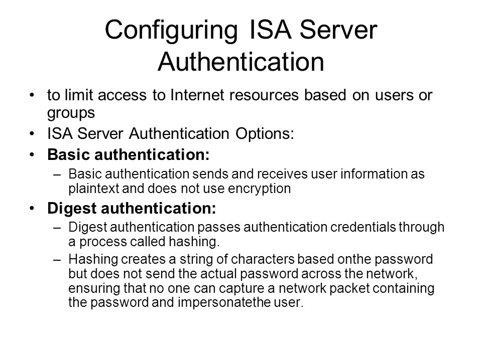 Configuring ISA Server Authentication