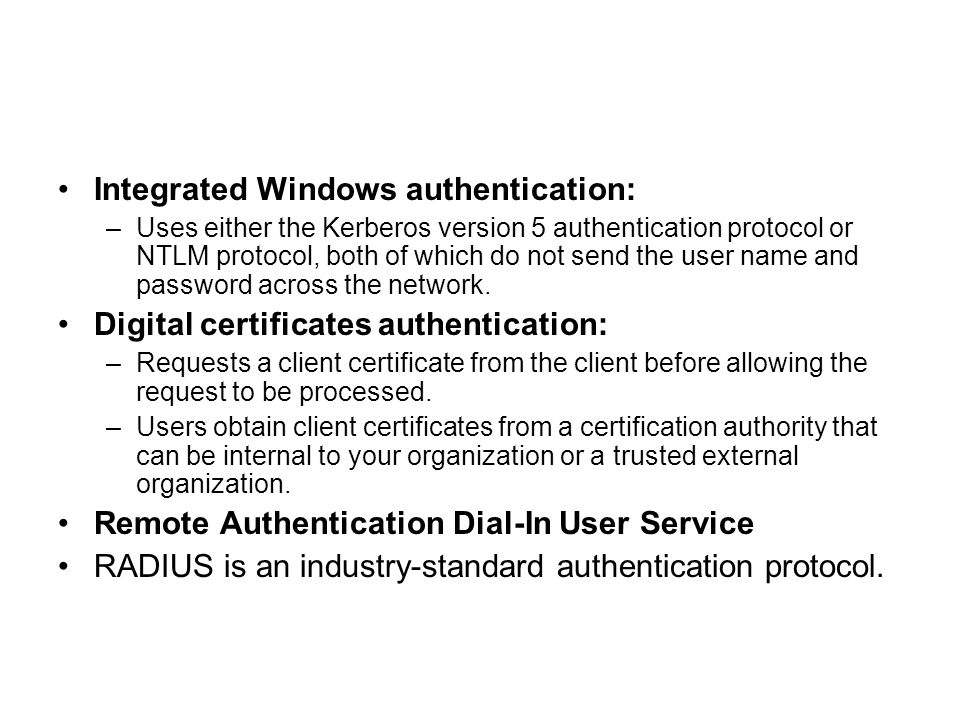 Integrated Windows authentication: