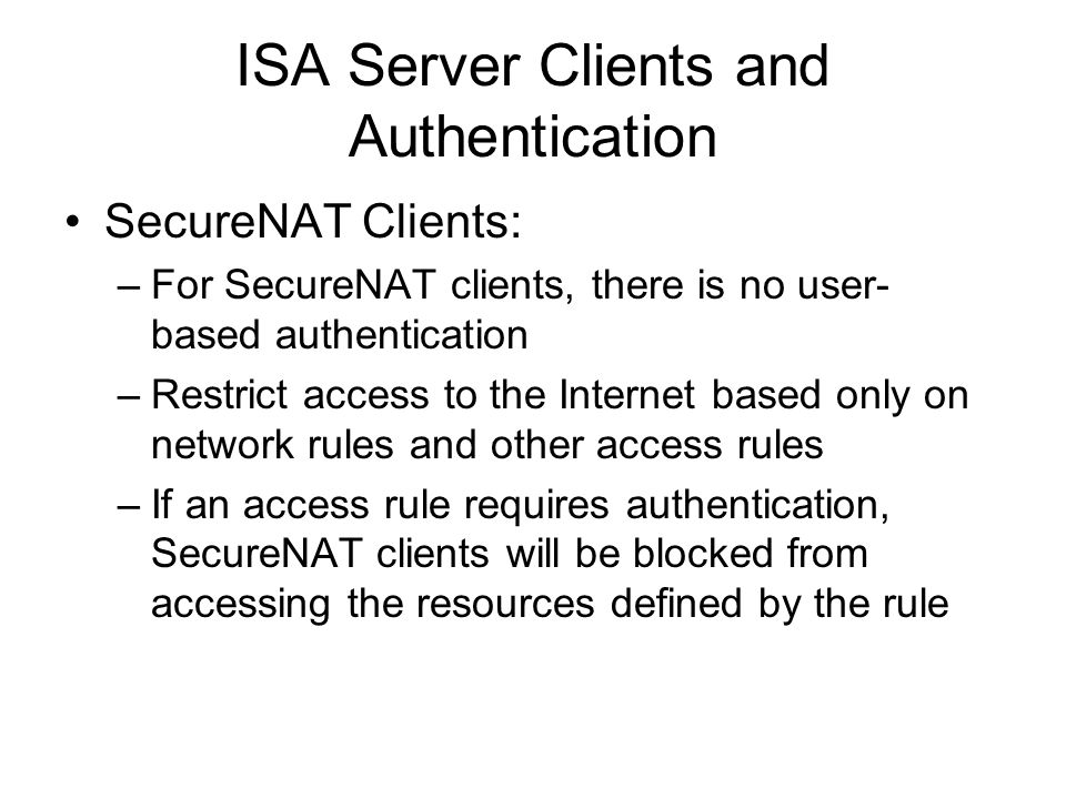 ISA Server Clients and Authentication