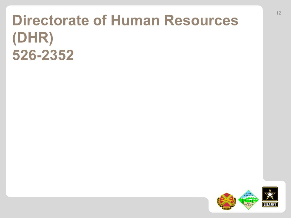 Directorate of Human Resources (DHR) 526-2352